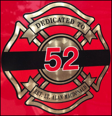 Dedicated to Alan Macdonald, number 52, Lynnfield Fire Department